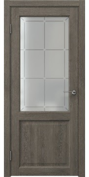 Межкомнатная дверь FK004 (экошпон «серый дуб» / стекло решетка) — 0258