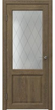 Межкомнатная дверь, FK004 (экошпон дуб антик, стекло ромб)