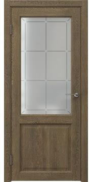 Межкомнатная дверь, FK004 (экошпон дуб антик, стекло решетка)