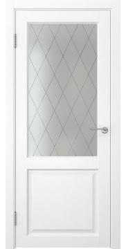 Межкомнатная дверь FK004 (экошпон «ясень белый» / матовое стекло ромб) — 0260