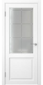 Межкомнатная дверь FK004 (экошпон «ясень белый» / стекло решетка) — 0261