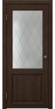 Межкомнатная дверь FK004 (экошпон «дуб шоколад» / матовое стекло ромб) — 0263