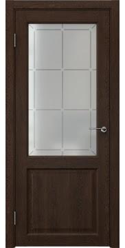Межкомнатная дверь FK004 (экошпон «дуб шоколад» / стекло решетка) — 0264
