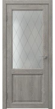 Межкомнатная дверь, FK004 (экошпон дымчатый дуб, стекло ромб)