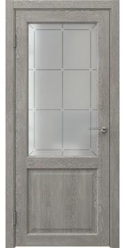 Межкомнатная дверь, FK004 (экошпон дымчатый дуб, стекло решетка)