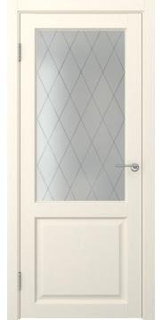 Межкомнатная дверь FK004 (экошпон «ваниль» / матовое стекло ромб) — 0254