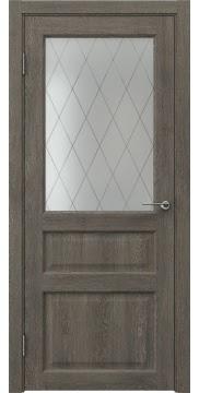 Межкомнатная дверь FK005 (экошпон «серый дуб» / матовое стекло ромб) — 0278