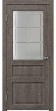 Межкомнатная дверь FK005 (экошпон «серый дуб» / стекло решетка) — 0279