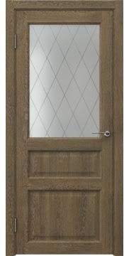 Межкомнатная дверь FK005 (экошпон «дуб антик» / матовое стекло ромб) — 0269
