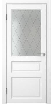 Межкомнатная дверь FK005 (экошпон «ясень белый» / матовое стекло ромб) — 0281