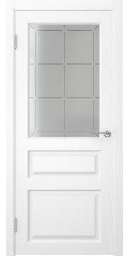 Межкомнатная дверь FK005 (экошпон «ясень белый» / стекло решетка) — 0282