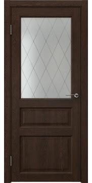 Межкомнатная дверь FK005 (экошпон «дуб шоколад» / матовое стекло ромб) — 0284
