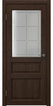 Межкомнатная дверь, FK005 (экошпон дуб шоколад, стекло решетка)