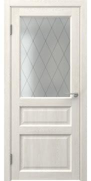 Межкомнатная дверь FK005 (экошпон «белый дуб» / матовое стекло ромб) — 0272