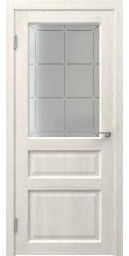 Межкомнатная дверь, FK005 (экошпон белый дуб, стекло решетка)