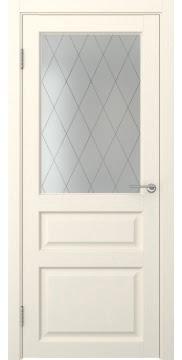 Межкомнатная дверь FK005 (экошпон «ваниль» / матовое стекло ромб) — 0275