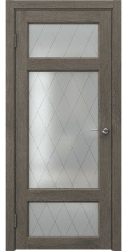 Межкомнатная дверь FK006 (экошпон «серый дуб» / матовое стекло ромб) — 0299