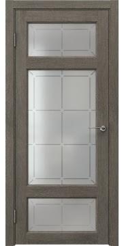 Межкомнатная дверь FK006 (экошпон «серый дуб» / стекло решетка) — 0300