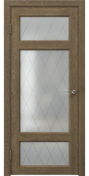 Межкомнатная дверь, FK006 (экошпон дуб антик, стекло ромб)