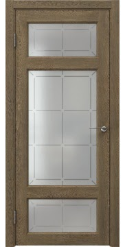 Межкомнатная дверь, FK006 (экошпон дуб антик, стекло решетка)