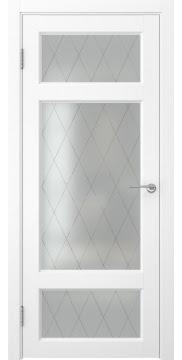 Межкомнатная дверь FK006 (экошпон «ясень белый» / матовое стекло ромб) — 0302