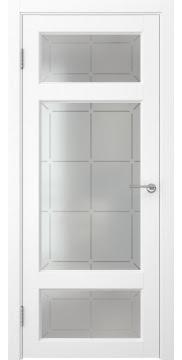 Межкомнатная дверь FK006 (экошпон «ясень белый» / стекло решетка) — 0303