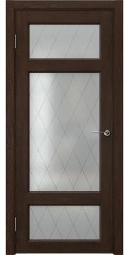 Межкомнатная дверь FK006 (экошпон «дуб шоколад» / матовое стекло ромб) — 0305