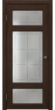 Межкомнатная дверь FK006 (экошпон «дуб шоколад» / стекло решетка) — 0306