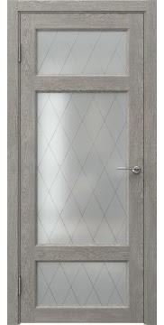 Межкомнатная дверь, FK006 (экошпон дымчатый дуб, стекло ромб)