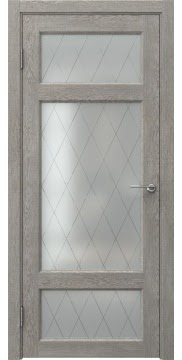 Межкомнатная дверь FK006 (экошпон «дымчатый дуб» / матовое стекло ромб) — 0309
