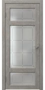 Межкомнатная дверь FK006 (экошпон «дымчатый дуб» / стекло решетка) — 0308