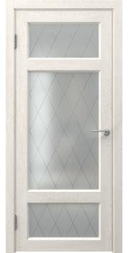 Межкомнатная дверь, FK006 (экошпон белый дуб, стекло ромб)