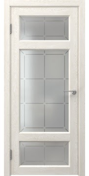 Межкомнатная дверь FK006 (экошпон «белый дуб» / стекло решетка) — 0294