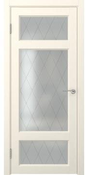 Межкомнатная дверь FK006 (экошпон «ваниль» / матовое стекло ромб) — 0296