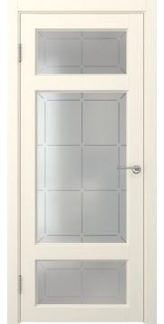 Межкомнатная дверь, FK006 (экошпон ваниль, стекло решетка)