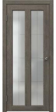 Межкомнатная дверь FK007 (экошпон «серый дуб» / стекло решетка полимер) — 0341