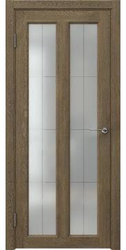 Межкомнатная дверь FK007 (экошпон «дуб антик» / стекло решетка полимер) — 0332
