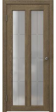 Межкомнатная дверь, FK007 (экошпон дуб антик, стекло решетка)