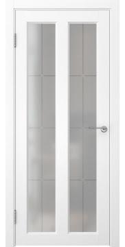 Межкомнатная дверь, FK007 (экошпон ясень белый, стекло решетка)