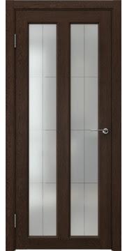 Дверь классика, каркас из массива сосны, FK007 (экошпон дуб шоколад, остекленная)