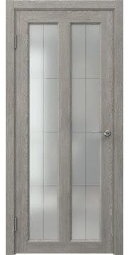 Межкомнатная дверь FK007 (экошпон «дымчатый дуб» / стекло решетка полимер) — 0350