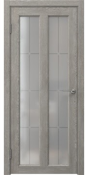 Межкомнатная дверь FK007 (экошпон «дымчатый дуб» / стекло решетка) — 0351