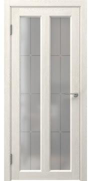 Межкомнатная дверь FK007 (экошпон «белый дуб» / стекло решетка) — 0336