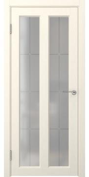 Межкомнатная дверь, FK007 (экошпон ваниль, стекло решетка)