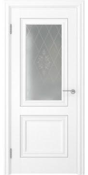 Межкомнатная дверь, FK009 (экошпон ясень белый, остекленная)