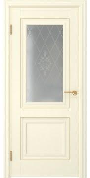 Дверь классика, МДФ FK009 (экошпон ваниль, остекленная)