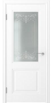 Межкомнатная дверь, FK010 (экошпон белый, остекленная)