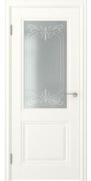 Межкомнатная дверь, FK010 (экошпон слоновая кость, остекленная)