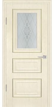 Межкомнатная дверь, FK011 (экошпон ваниль, остекленная)