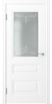 Межкомнатная дверь, FK012 (экошпон белый, остекленная)